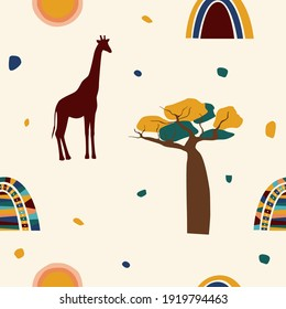 Ethnic african seamless pattern background. African traditionat tribal symbols seamless pattern for textile, souvenir shop wrapping paper, t shirt print, tourism agency flyer advertising etc.
