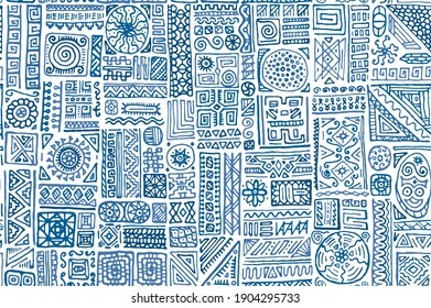 Ethnic african vector seamless pattern. Cloth textile print design. African moroccan ethnic tribal hand drawn swatch. Vintage doodle patchwork. Summer dress print ornament.