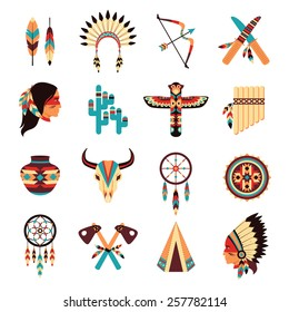 Ethnic american idigenous tribal amulets and symbols icons collection  with native feathers headdress abstract isolated vector illustration