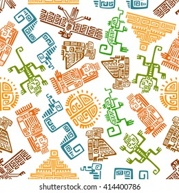 Ethnic ancient mexican seamless pattern with mayan and aztec ornamental totems of sun, pyramid, eagle, raven, monkey, snake, lizard and idol over white background