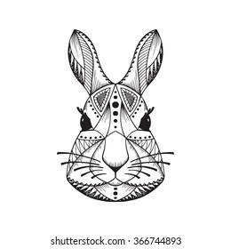 Ethnic animal. Tribal patterned Rabbit. Bunny head. Hare. Hand drawn Vector illustration