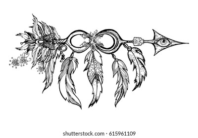 Ethnic Arrow Feathers Native Style Apache Stock Vector Royalty Free