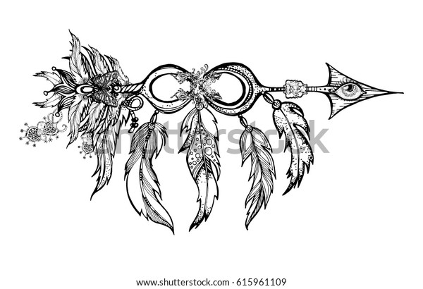 Ethnic Arrow Feathers Native Style Apache Stock Vector (Royalty Free ...