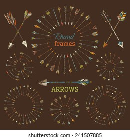 Ethnic arrows, round frames and page dividers. Design elements on brown background. There is place for your text.