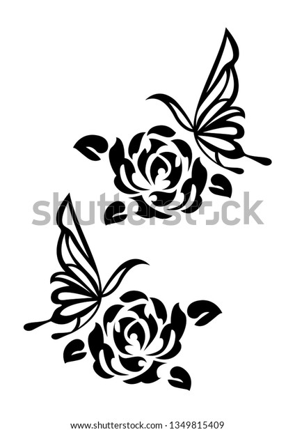 Ethnic Artwork Butterfly Rose Tattoo Tribal Stock Vector (Royalty ...
