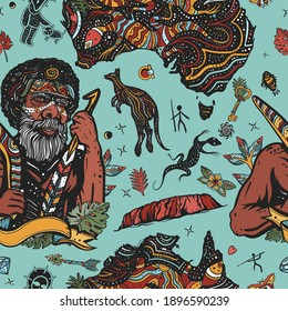 Ethnic Australian aboriginal tribes bushmen. Boomerang, rock painting, kangaroo, map. Old school tattoo vector background. Australia seamless pattern