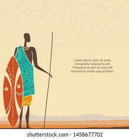 Ethnic background with African man warrior and stylized African landscape with space for text