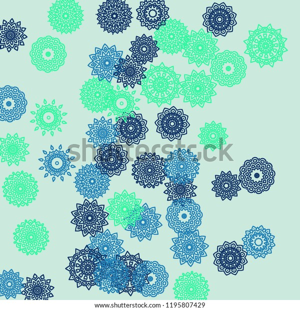 Ethnic Background Simple Mandala Patterns Round Stock Vector