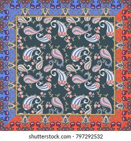 Ethnic bandana print with groovy floral paisley pattern and unusual frame with tulips flowers. Vector summer design. Indian, mexican, japanese motives. Tea box design.