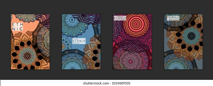 Ethnic banners template with floral Mandala ornament. Henna tattoo style. Collection of creative universal artistic vector cards. Lace pattern with roughly hand drawn striped colorful Mandala.