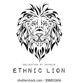 Ethnic black head of lion. totem / tattoo design. Use for print, posters, t-shirts. Vector illustration