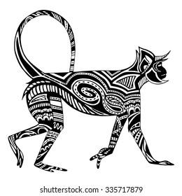 Ethnic black monkey silhouette. African / totem / tattoo design