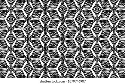 Ethnic black white pattern of geometric shapes, intertwined lines in the national Mexican, African, Indian style. Vector graphics for coloring.