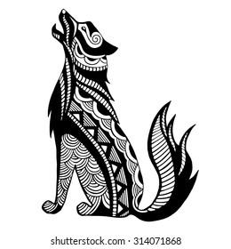 Ethnic black wolf silhouette. African / totem / tattoo design