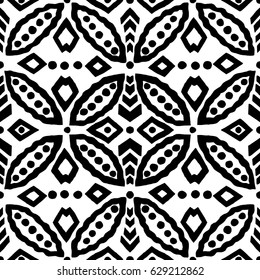 Ethnic block printed geometric ornament, vector oriental motif with circular and rhomboid shapes. Black on white background. Textile print.