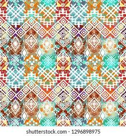 Ethnic boho grunge seamless pattern. Tribal art print. Folk style repeating pattern. Background, ethno texture. Fabric design