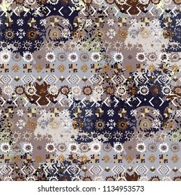 Ethnic boho seamless pattern. Abstract background. Batik, silk. Paint spots