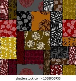 Ethnic boho seamless pattern in african style on black background. Tribal art print. Irregular polka dots pattern. Vector image.