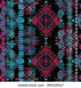 Ethnic boho seamless pattern. Ethno ornament. Tribal art repeating background. Cloth design, wallpaper, wrapping