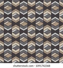Ethnic boho seamless pattern. Traditional ornament. Manual hatching. Geometric background. Tribal pattern. Folk motif. Textile rapport.