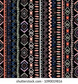 Ethnic boho seamless pattern. Tribal art print. Abstract background texture. Fabric design