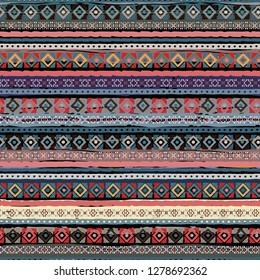 Ethnic boho seamless pattern. Tribal art print. Vintage repeating pattern. Background, ethno texture. Fabric design