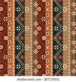 Ethnic Boho Seamless Pattern Tribal Art Print Colorful Border Background Texture Fabric