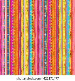 Ethnic boho seamless pattern. Tribal art print. Background texture, wrapping, wallpaper