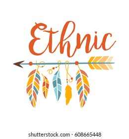 Ethnic Boho Style Element Print , Hipster Fashion Design Template In Blue, Yellow And Red Color With Arrow And Feathers