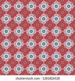 Ethnic boho style. Native batik watercolor artistic orange, pink and white seamless pattern. Seamless hand drawn tribal tiles texture. Vector illustration.