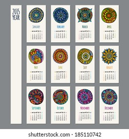 Ethnic calendar 2015 year design, English, Sunday start