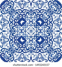 Ethnic ceramic tile in portuguese azulejo. Vector seamless pattern watercolor. Creative design. Blue vintage ornament for surface texture, towels, pillows, wallpaper, print, web background.