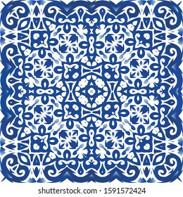 Ethnic ceramic tile in portuguese azulejo. Vector seamless pattern template. Minimal design. Blue vintage ornament for surface texture, towels, pillows, wallpaper, print, web background.