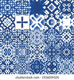 Ethnic ceramic tiles in portuguese azulejo. Bathroom design. Collection of vector seamless patterns. Blue vintage ornaments for surface texture, towels, pillows, wallpaper, print, web background.