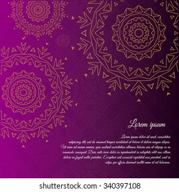 Ethnic & Colorful Henna Mandala card with Vintage decorative elements. design Round Ornament Pattern.