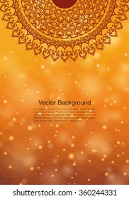 Ethnic & Colorful Henna Mandala design, on festive and glitter bokeh background