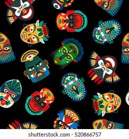 Ethnic colorful mask pattern on black background. Vector illustration
