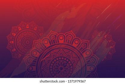 Ethnic Colorful Round Ornamental Henna Mandala Floral Background Design Vector Illustration