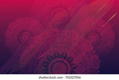 Ethnic Colorful Round Ornate Henna Mandala Design Background