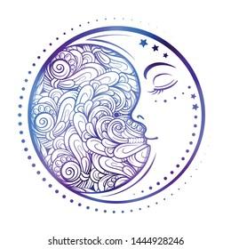 Ethnic cresent moon motif. Colorful print.