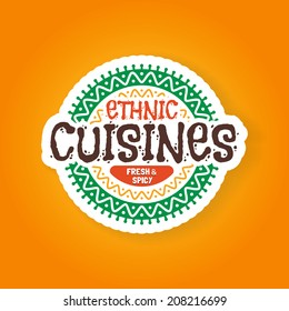 Ethnic cuisines restaurant badge, vector illustration, symbol looks similar to logo