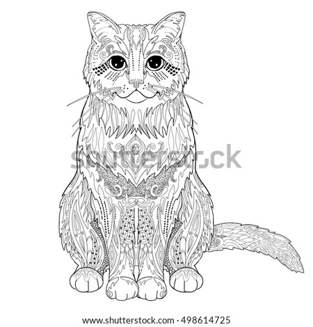 Ethnic Decorative Doodle Cat Coloring Book Stock Vector Royalty