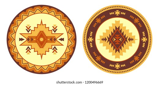 Ethnic decorative elements. Round ornament pattern. Southwest American rug, Navajo print.