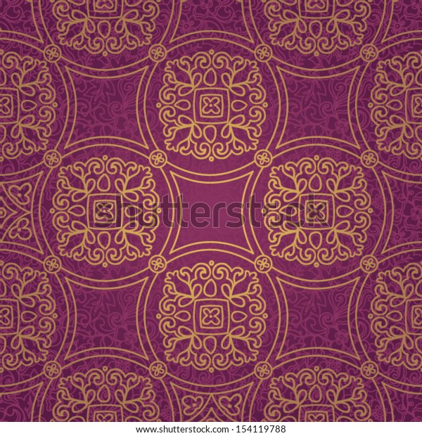 Ethnic decorative pattern. Bright lacy seamless ornament. Violet brocade background.