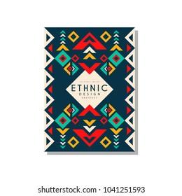 Ethnic design abstrat, colorful ethno tribal geometric ornament, trendy pattern element for business card, logo, invitation, flyer, poster, banner vector Illustration