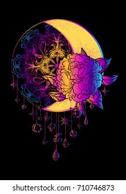 Ethnic design, boho chic, tribal symbol, dreamcatcher. Moon with peony on a background of a stylized sun with pendants. A sign of unity, integrity,energy of life. Tattoo. Print. Poster. Decoration.