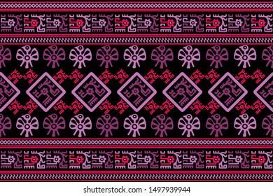 Ethnic Design. Ikat Seamless Pattern. Chevron Brush Texture. Boho Print. Geometric Hand Drawn Textile Ornate. Abstract Native Tie Dye Background.