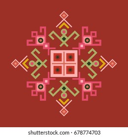 Ethnic design with traditional tribal motifs of crooked lines, triangles, squares, circles. Scrapbook swatch, mayan symbol, ethno pattern geometric decoration. Embroidery style clothes ornament.