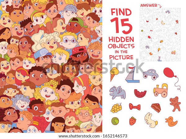 Ethnic diversity of children's faces. International Children's Day. Find 15 hidden objects in the picture. Puzzle Hidden Items. Funny cartoon character. Vector illustration