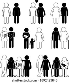 Ethnic Diversity Concept. Family Togetherness. Stick Figure Pictogram Icon